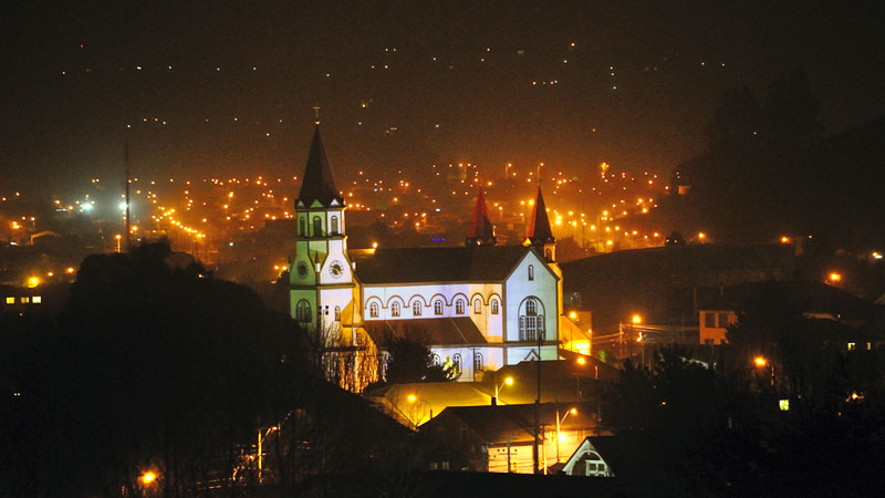 Puerto Varas – Night View of the Iglesia del Sagrado Corazón